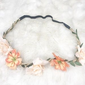 Boho Flower Crown/ Headband (new) orange and pink